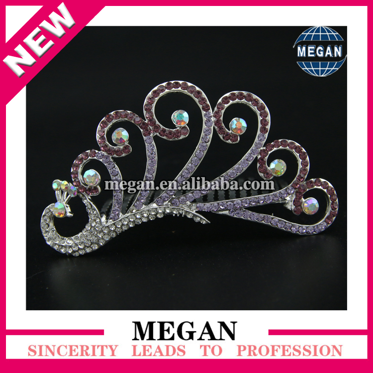 2017 New Popular peacock crystal Rhinestone hair combs for wedding bridal hair accessory