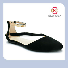 Golden Ankle Strap Pointed Style Big Size Flat Women's Shoe