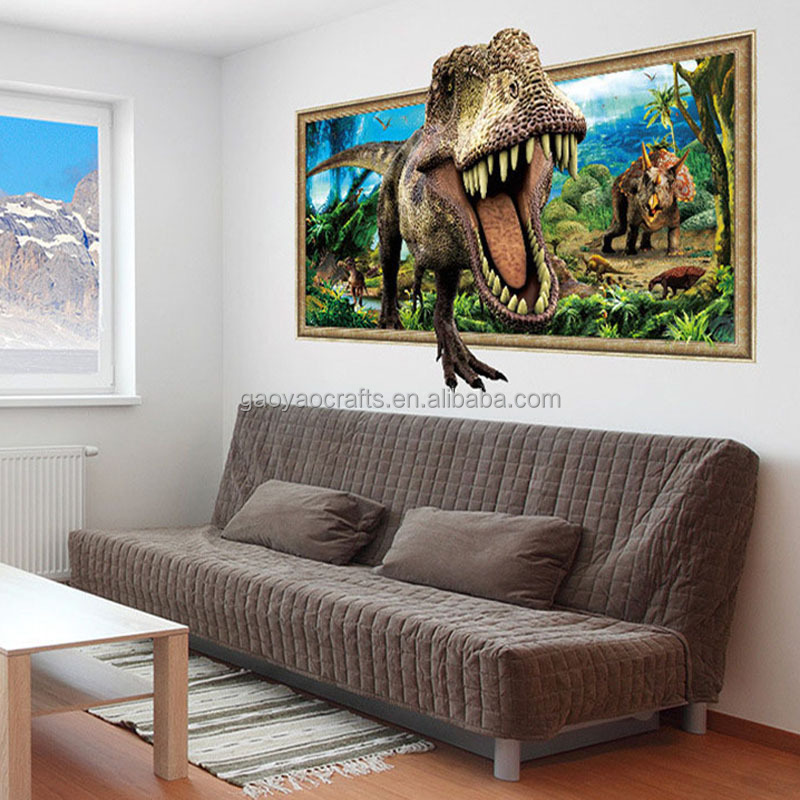 3d Dinosaur Art Poster wall stickers Jurassic Tyrannosaurus wall stickers For sitting room the bedroom Fashion decor stickers