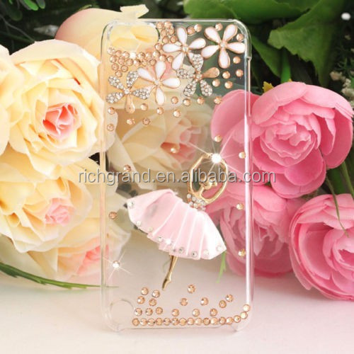 Chic DIY ballet dancer bling hard diamond back case cover for ipod touch 5