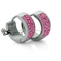 Rose Pink Crystal Earrings Clip On Design,Wholesale Earrings For Women Cheap Earrings Metal