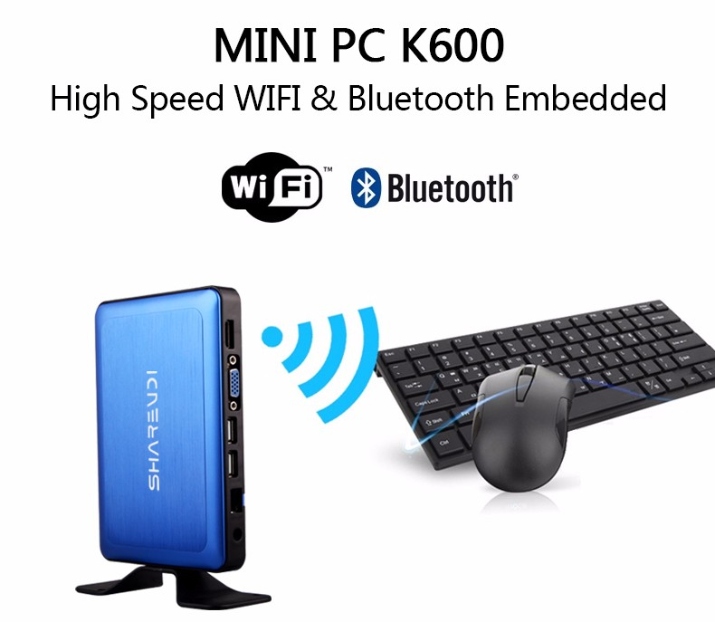 MINI ITX Media Player Digital Signage educational thin client K600 blue alumnium alloy case 2GB 32GB