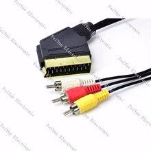 audio&video cable 21Pin scart to RCA Plug Composite AV Cable