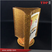 luxury Rotating 3-Sided sign holders gold acrylic menu holder for hotel