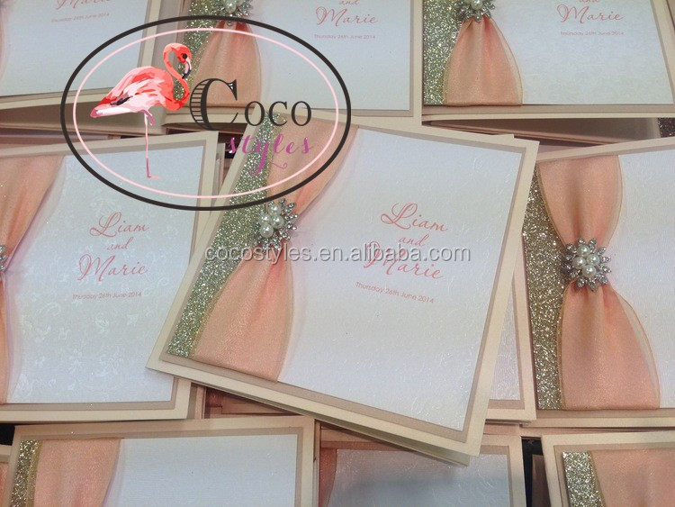 custom wedding invitation card with brooch and glitter