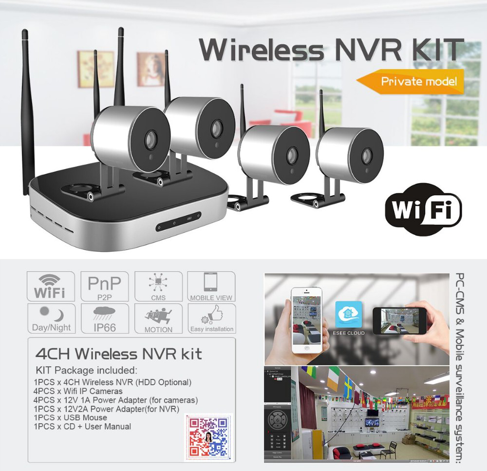 Mini size 4CH HD waterproof cctv wireless camera system