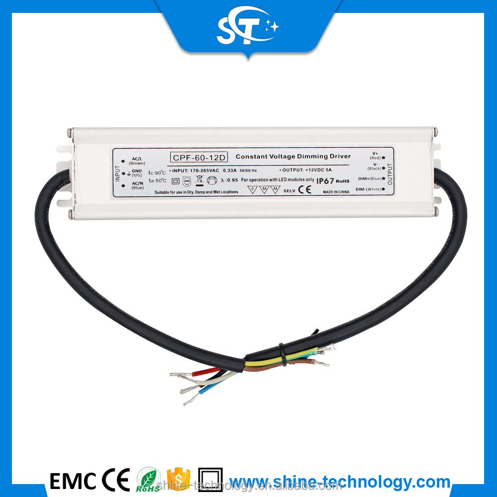 MeanWell 60w 12V 24V dc Constant Voltage Dimmable LED Driver 0-10V/PWM/DALI Dimming LED Strip Light Power Supply class 2