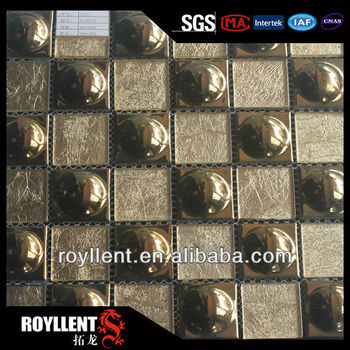 Glass material mosaic tile with caremic&cheap cracked crystal