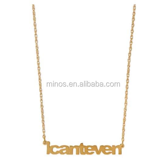 Gold Plated Stainless Steel Personalized Necklace, I Can't Even Pendant Necklace