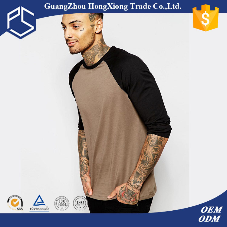 China Factory Hongxiong Popular Two Tone Black Khaki Plain Custom Cotton Long Sleeve T Shirt Men