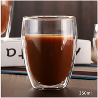 Wholesale Promotional Double Wall Heat Resistant Coffee Glass Cup