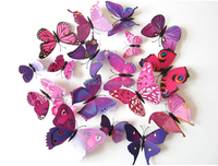 colorful purple butterfly Shop for wall art butterfly 3d sticker sticker 12 pcs Wall Art For Living/Bed Room
