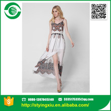 pakistani fork style womens dress The sexy hollowed-out suspender long dress sleeveless print dress Open fork