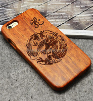 Laser engrave cell phone wood case cool tribe dragon shape custom cell phone wooden cases for iphone 4 4S