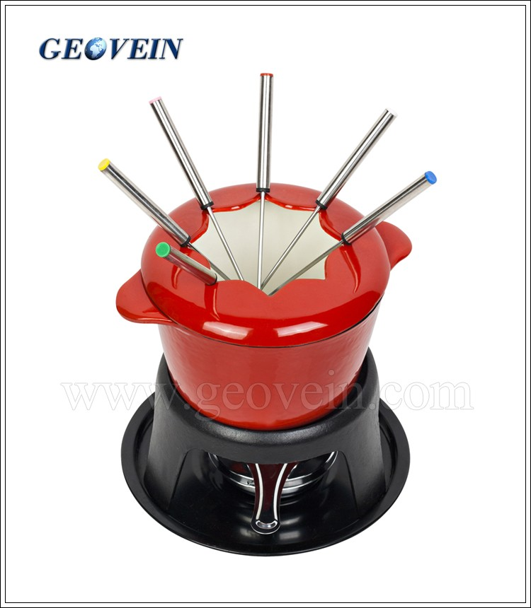 Cast iron mini cheese fondue pot with forks