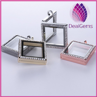 new arrival square floating locket charms memory floating locket charm pendant