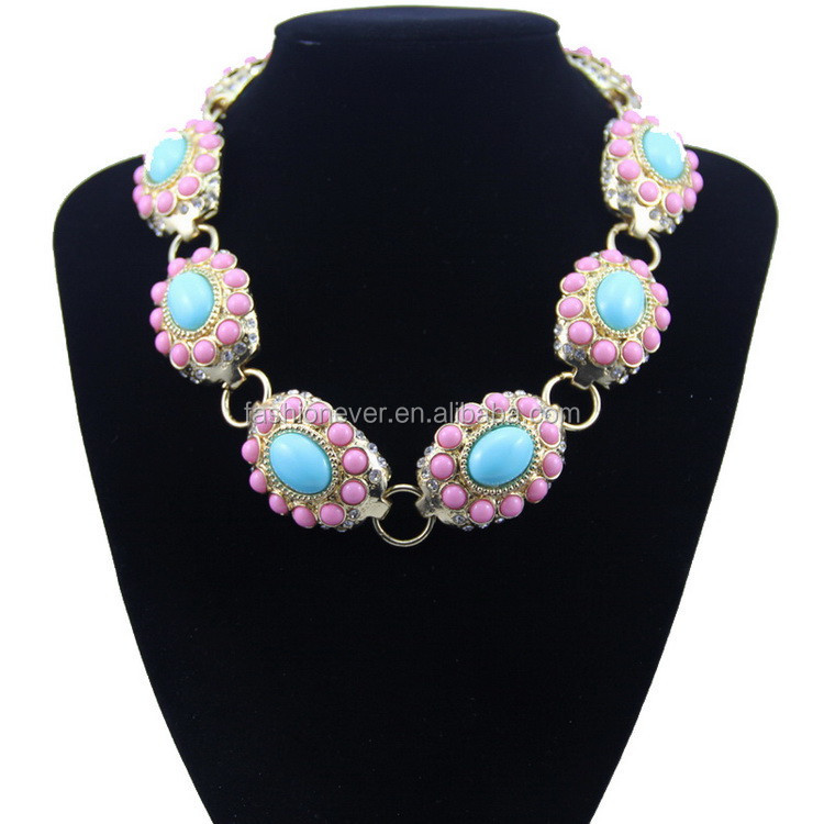 New Design Turquoise Stone Luxurious Bubble Statement Necklace for Woman