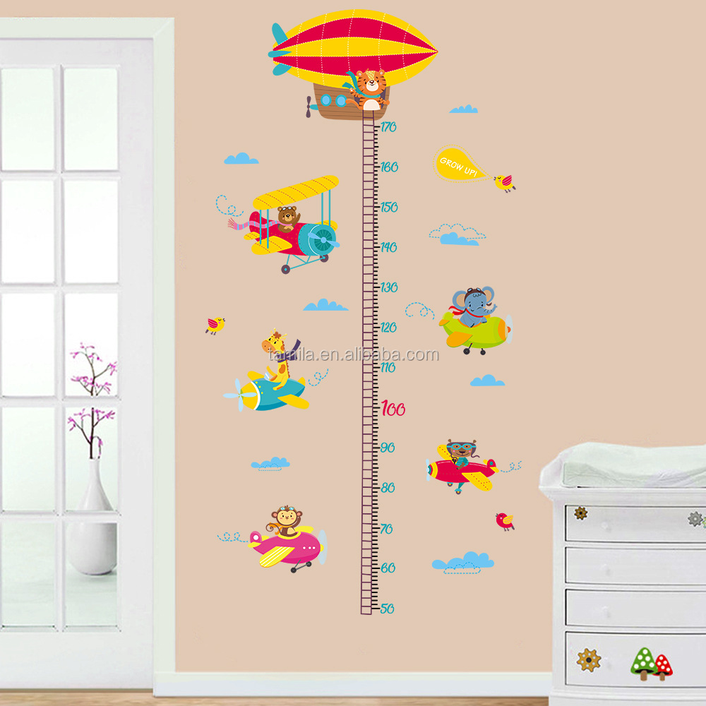 Kids Cartoon Plane Growth Chart Kids wall sticker decoration removable Height Chart Sticker