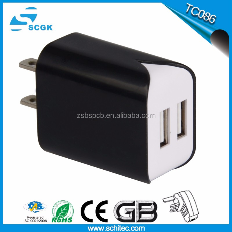 2017 new products dual usb wall charger 2.4a for cell phone travel charger