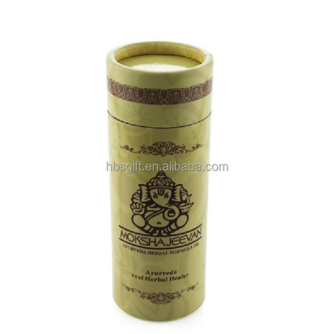 Metal cover lavender paper cylinder tube cosmetic box