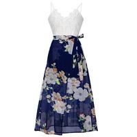 New Summer Dresses 2017 Women V Neck Long Chiffon Dress Womens Sleeveless Embroidered White Laceand printing Dress
