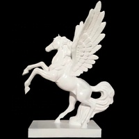 Wholesale white fiberglass flying horse statue for decoration