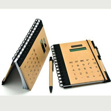 Recycle kraft paper cover A5 size solar notebook calculator with pen