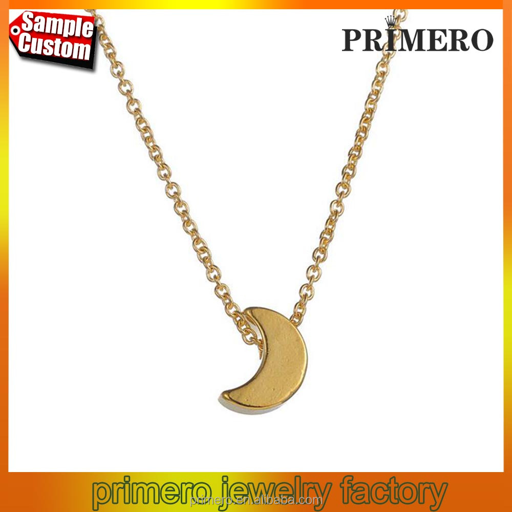 New Gold Simple Crescent Moon Necklace Half Moon Pendant for Women