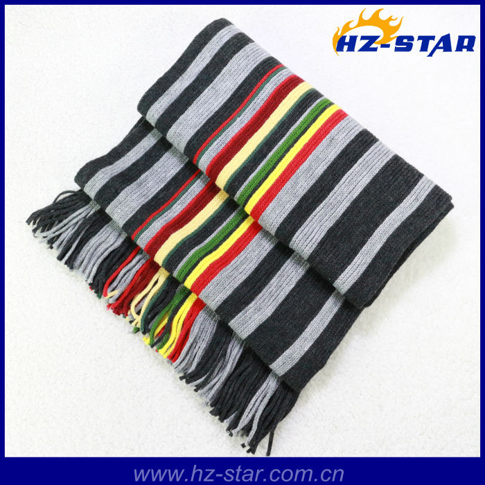 HZW-12014005 high quality latest thick stripes knitting wool scarf with tassel
