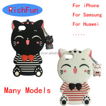 Many models Hot 3D Cute Cartoon Lucky Cat Soft Silicon Back Cover For iPhone 4 5 6 7 4G 5G 6G 7G 4s 5s 6s Plus 3D Phone Case