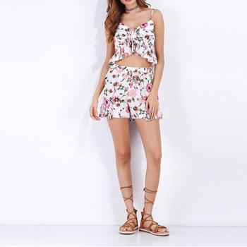 2018 new products Women Casual Set printed floral backless slim two piece set women clothing