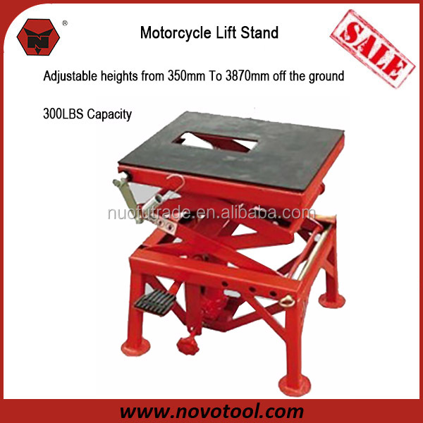 Manufacturer 2015 Competitive Price Best Quality 350mm- 870mm Height 300 LB Hydraulic Scissor Lift Motorcycle Jack Stand
