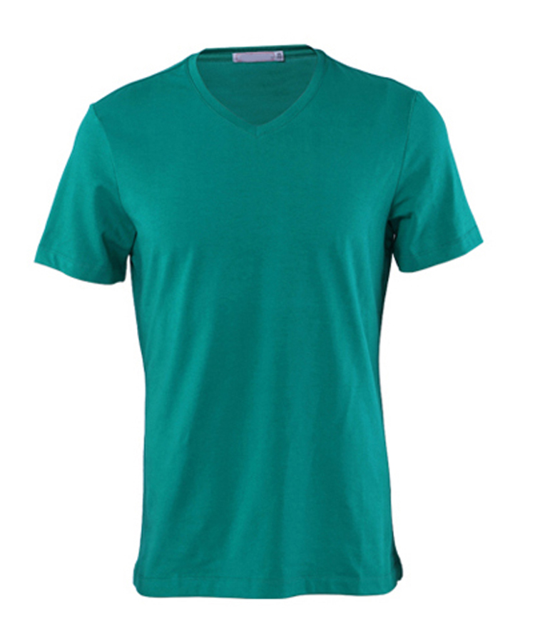 Custom men's v neck 50% polyester 25% cotton 25% rayon tri blend green t shirt