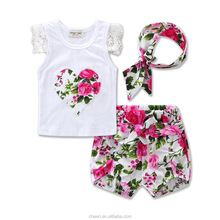 Latest floral new stylish fashion kids girls clothes set summer1 year old baby clothes 2018