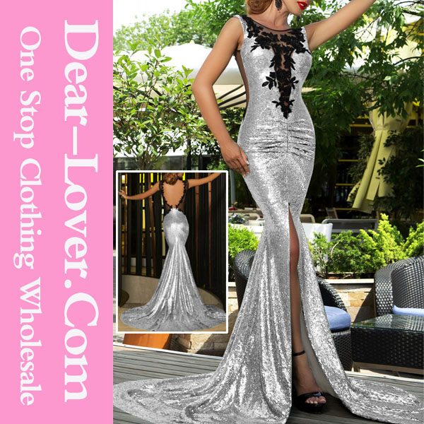 Silver Sequin Split Front Mermaid Evening Sex Prom Dress Party Dress