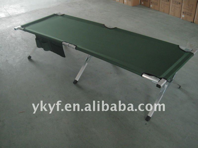 Green Military Camping Aluminum Folding Bed with side pocket