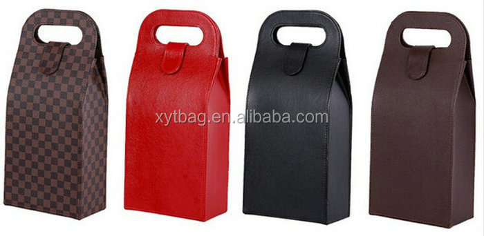 Factory Custom Leather Wine Carrier With Handle