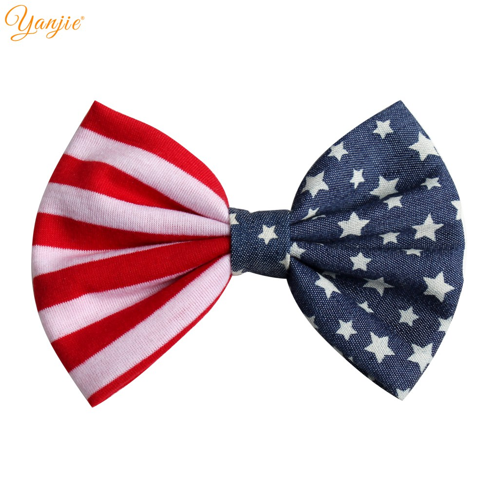 2019 American July 4th Girls 5'' Striped Cotton/Denim Hair Bow Kids DIY Hair Accessories For Kids Hair Clip New Arrival Headwear