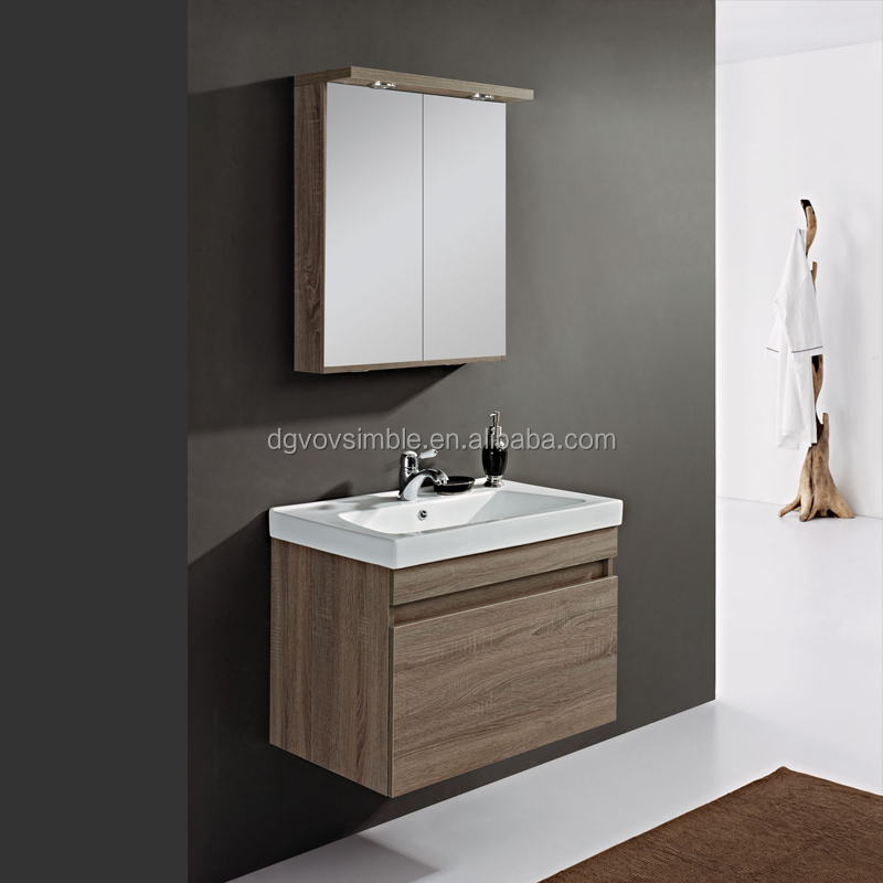 Easy install solid wood bathroom cabinet with natural for Bathroom cabinets natural wood