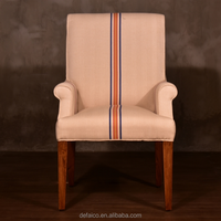 Vintage Style Solid Wood Linen Fabric Dinning Chair