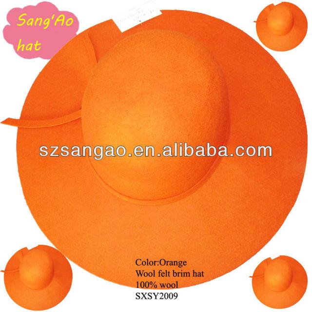 Wholesale orange big brim felt fedora hat for woman 100%wool fur