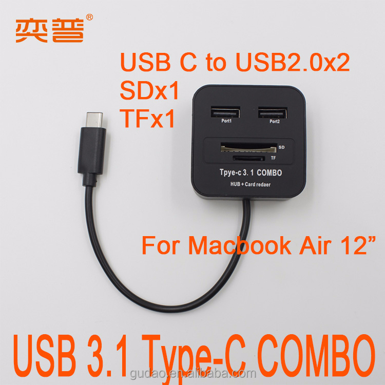 USB 3.1 C Type combo driver to USB 2.0 HUB & SD & TF card reader for Apple Macbook 12""