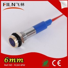 flat head metal material 24v 6mm with 20cm cable railway signal lamp