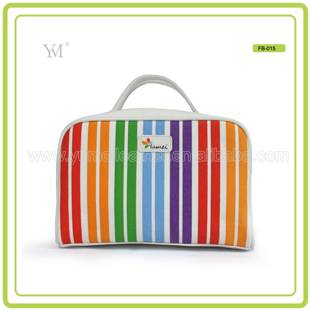 Lfgb Certificated Personalized Multicolor Handle Canvas Ladies Make Up Cosmetic Bag