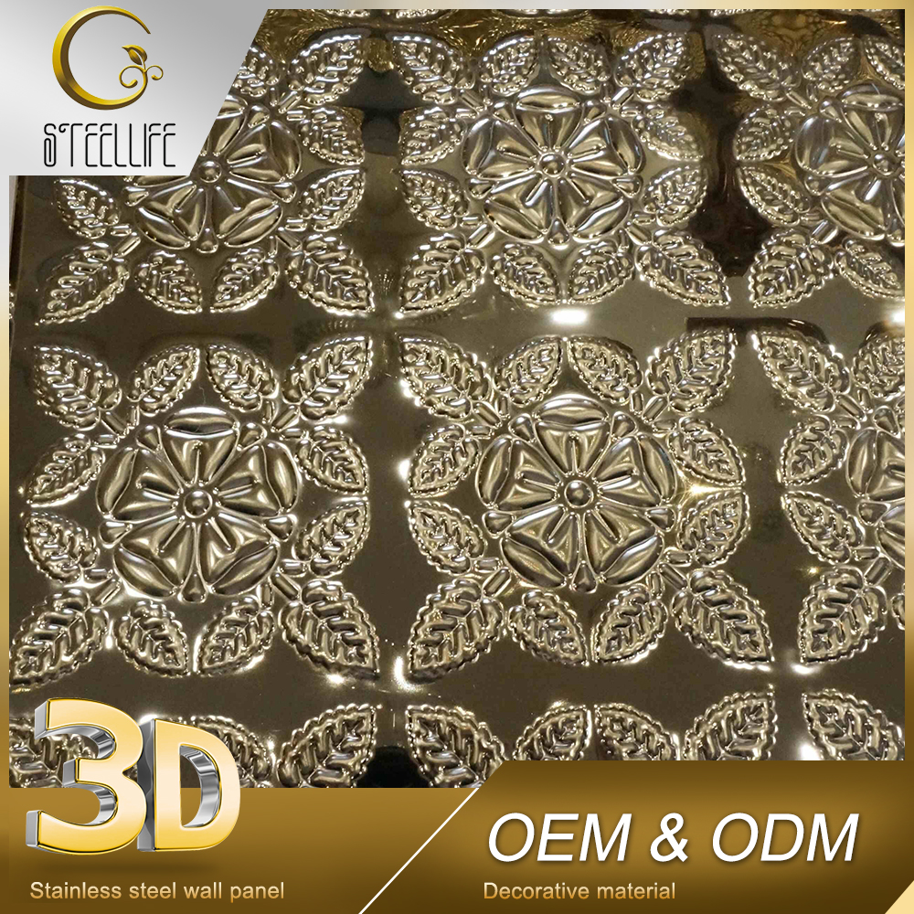 Home Interior Golden 3D Stainless Steel Panel Sheets Aluminum Ceiling