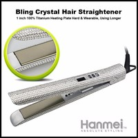 Professional bling rhinestone hair straightener flat iron with gorgeous crystal shine