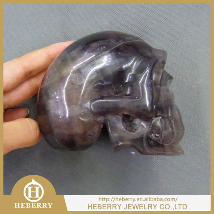 natural rainbow fluorite human skull carving/skeleton healthy jewelry