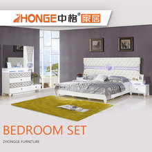high quality MDF wood home french modern elegant white king bedroom furniture bedroom sets