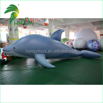 Funny Durable PVC Inflatable Dolphin Cartoon / Outdoor Giant Rider Sea Animal Water Toy
