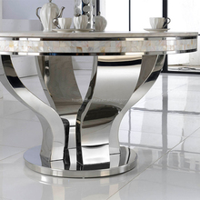 Wholesale stainless steel leg round crystal stone top dining table DH-824